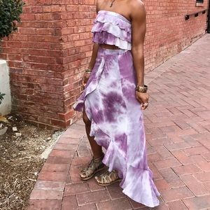Dresses & Skirts - Purple Tie Dye skirt and crop top